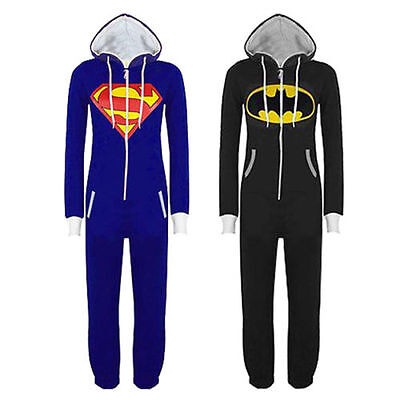 New Women Mens Unisex Batman Superman Hoodie All In One Jumpsuit Onesi Playsuit - Superman Onesie Women