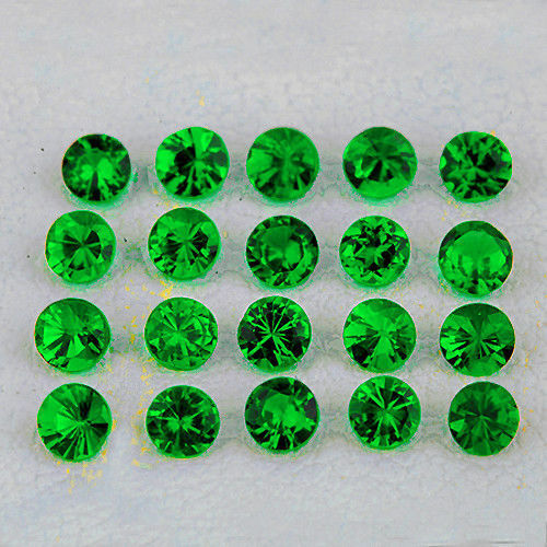 CELEBRATED 100 PCS SPECTACULAR CHROME DIOPSIDE GEMSTONE MICRO FACETED 1.25 MM