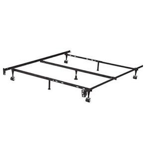 Adjustable Metal Bed Frame with Center Support and Rug Rollers