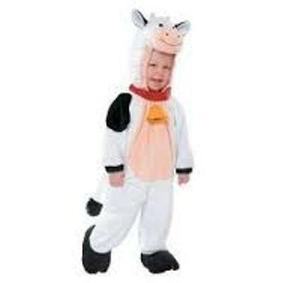 PLUSH COW HOODED JUMPSUIT COSTUME 12-24M BLACK WHITE INFANT/TODDLER HALLOWEEN - Cow Toddler Halloween Costume