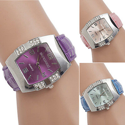 (Women's Rhinestone Barrel Case Faux Leather Band Analog Quartz Wrist Watch Sweet)