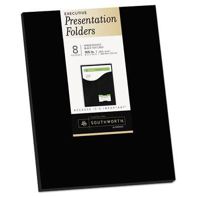 One-pocket Presentation Folders 8 12 X 11 Black 8pack