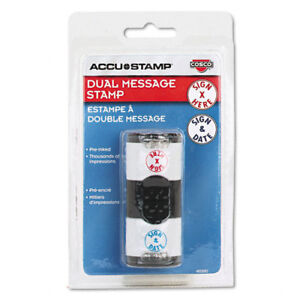 Accustamp Dual Stamper-Sign Here/Sign and Date-New in package