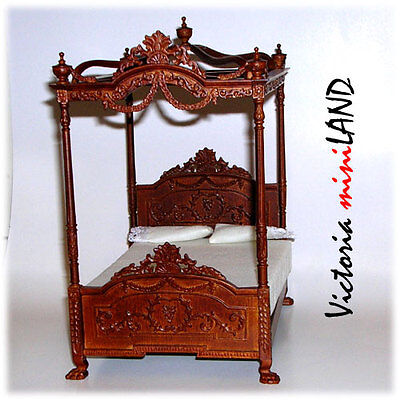 Miniature Four Poster Canopy Bed Fine Quality for dollhouse walnut 1:12  Bedroom Walnut Canopy Bed