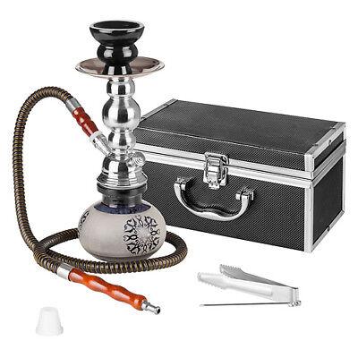 Orientalische Shisha Wasserpfeife Hookah mit Alu Koffer 2Go schwarz inkl. Kohle