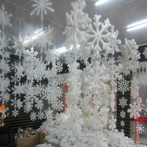 Hanging snowflakes ebay for Big snowflakes decorations