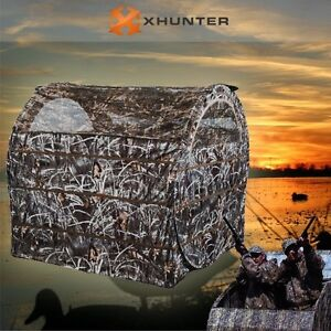 Two Men Camo Hunting Tent Duck Shooting Outdoor Ground Blind Pop Up Quick Set Up