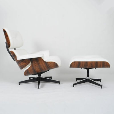 - Eames Lounge Chair & Ottoman Mid-Century Reproduction White Italian Leather