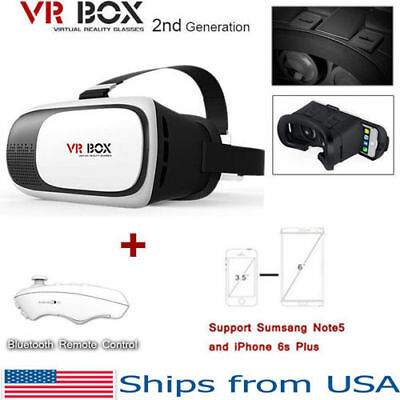 VR Box 2.0 Google Cardboard Virtual Reality 3D Glasses 2nd Gen Headset w/ Remote - 3 D Glasses