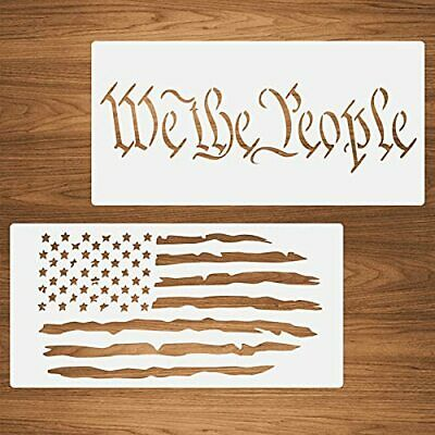 2 Packs We The People American Flag Stencils Reusable Plastic Templates for D...
