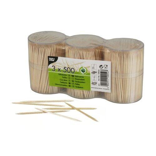 15000 10x1500 Zahnstocher Holz rund 6,7 cm im Spender Gastro Papstar
