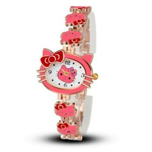 Woman Child Cartoon Bracelet Watch Hello Cat Pink Fashion Casual