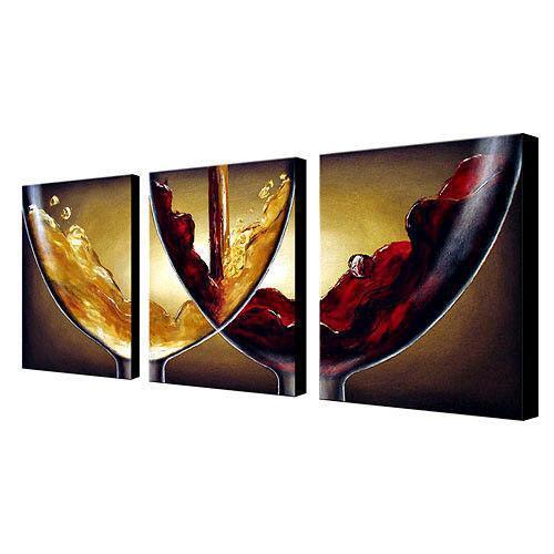 Purple Bowls Wine Bottels Modern Canvas Painting Wall Art: Wine Canvas Paintings