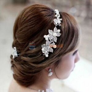 Pearl & Rhinestone Floral Bridal Hairband Accessory Clip-on New