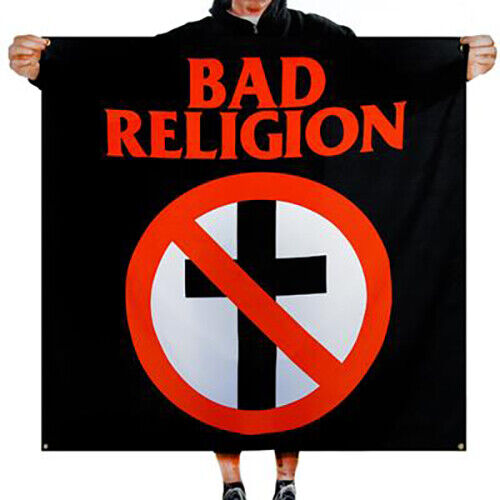 "Bad Religion Crossbuster Logo Banner Fabric Poster Wall Flag 46"" x 46"""
