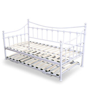 Metal Day Guest With Trundle Bed Frame Sleeper Vintage White Versailles Single