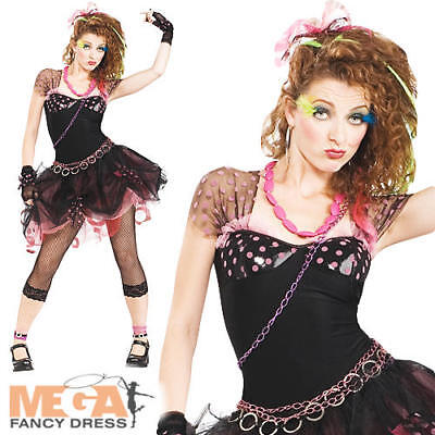 80s Diva Ladies Fancy Dress Pop Star 1980s Celebrity Womans Adult Costume Outfit - 80s Celebrity Costumes