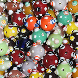 CHINESE-HANDMADE-LAMPWORK-BEADS-LARGE-20MM-BUMPY-BEADS-26-BEAD-PACK