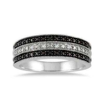 One of a Kind Diamond Black/White Sterling Silver Ring (with free Ring Holder)