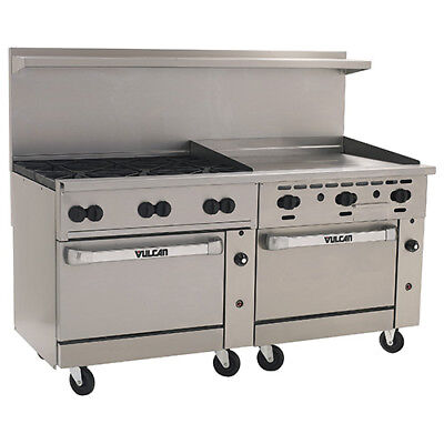 Vulcan Endurance Gas Range 72w 6 Burners 2 Bakers Ovens 36 Manual Griddle