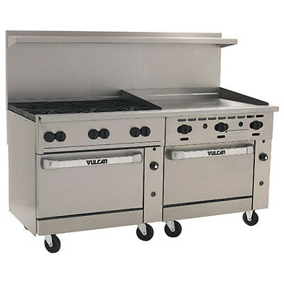 Vulcan Endurance Gas Range 72w 6 Burners 2 Bakers Ovens 36 Manual Griddle