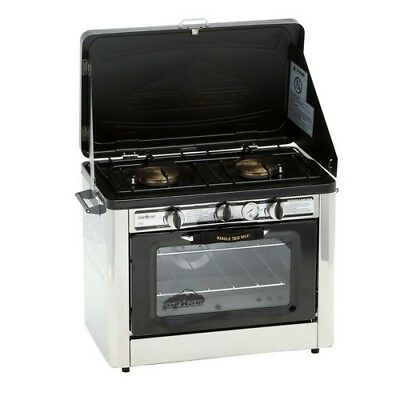 - Propane Gas Range Stove Oven Double Burner Stainless Steel Outdoor Tailgating
