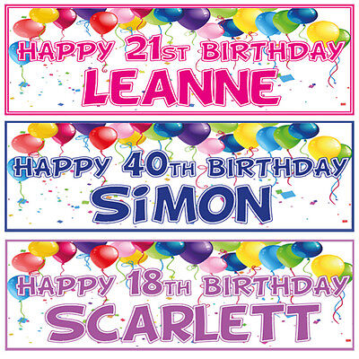 2 PERSONALISED BIRTHDAY BANNERS- 1st 18th 21st 30th 40th - ANY NAME ANY AGE (21st Birthday Banners Personalized)