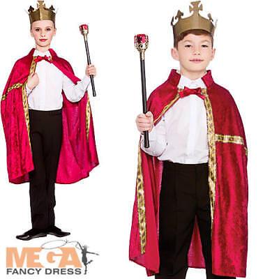 Kings Crown Kostüme (Deluxe Burgundy King /Queen Robe & Crown Set Kids Fancy Dress Girls Boys Costume)