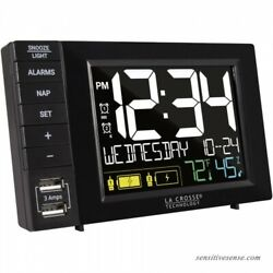 Alarm Clock Charging Station La Crosse Technology w/ 2 USB Ports & AC Adapter