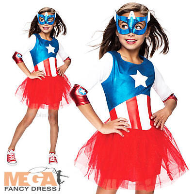 Captain America + Mask Girls Fancy Dress Marvel Superhero Kids Childs Costume (Captain America Girl Mask)