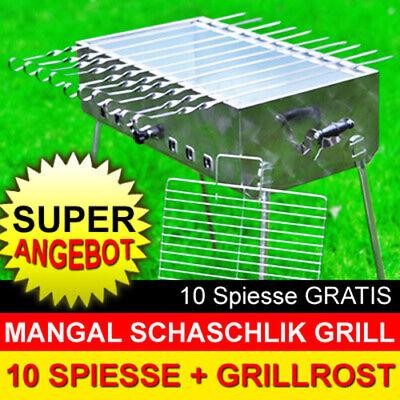 MANGAL MEGA Schaschlik Grill aus Edelstahl + 10 Spiesse GRATIS + MODEL 2019