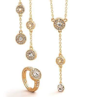 Rare AVON Elegant Lydia Light Gold Sparkle 3 Piece Set with Adjustable Ring