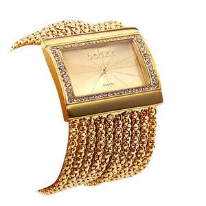 Lady's Women's Golden Band  Dial Bracelet Style Quartz Analog Wrist Watch
