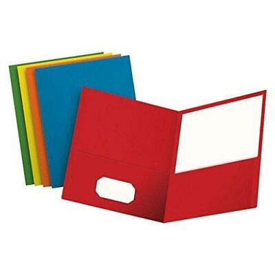 Two Pocket Folders Assorted Colors Letter Size 25 Per Box Binder Pockets New