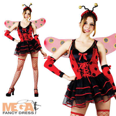 Lovely Lady Bug Kostüme (Lovely Ladybug Ladies Fancy Dress Lady Bird Bug Costume Outfit + Wings UK 6-24)
