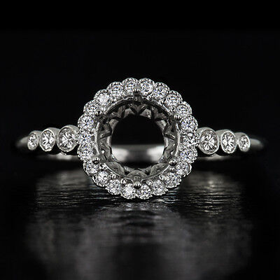 VINTAGE DIAMOND HALO SEMI-MOUNT ENGAGEMENT RING 6mm 6.5mm 1 CARAT ROUND SETTING