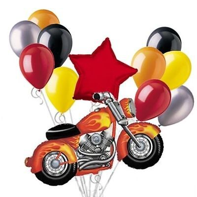 Motorcycle Balloon Bouquet Set RED Harley Snarley Birthday Party Decoration 12pc - Motorcycle Birthday Party Supplies