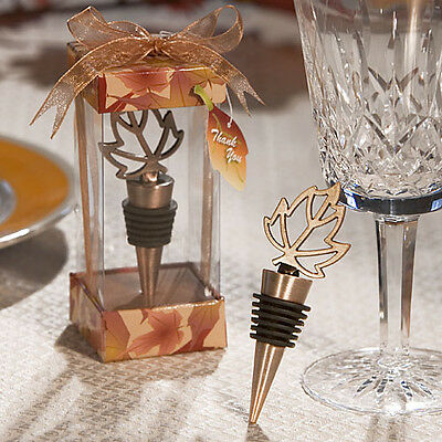 Autumn Wedding Favors (45 Autumn Fall Leaf Design Wedding Wine Bottle Stopper Favors Reception Drink)
