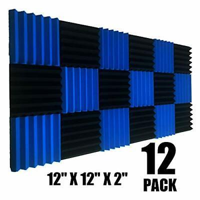 """12 Pk BLACK/BLUE Acoustic Panels Studio Soundproofing Foam Wedge tiles 2""""x12x12"""