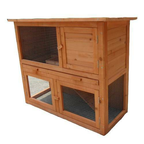 Double Storey Rabbit Hutch Guinea Pig Cage Run With Tray