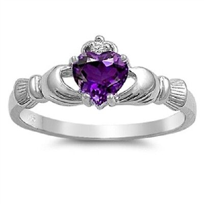 - Irish Claddagh Ring 925 Sterling Silver Purple Amethyst CZ Heart Promise Ring