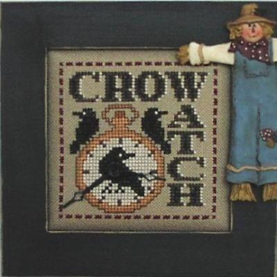 Word Play: Crow Watch Halloween Hinzeit Cross Stitch Pattern w/Charm