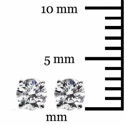 .20 CT Round Cut Stud Earrings Brilliant Cut with Screw back 14K White Gold 3mm