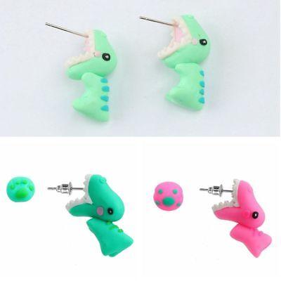 Animal Funny Handmade Ear Stud Polymer Clay Dinosaur Earrings Cartoon 3D