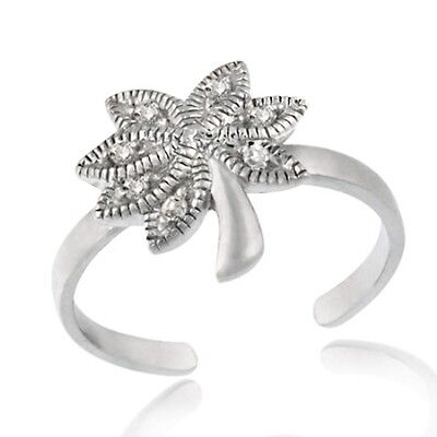 925 Sterling Silver CZ Palm Tree Toe Ring