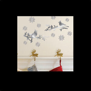 CARDINALS-wall-stickers-12-mirror-decals-Snowflakes-Holiday-Winter-Christmas