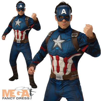 Captain America Mens Fancy Dress Marvel Avengers Endgame Superhero Adult Costume - Captain America Costume Adults