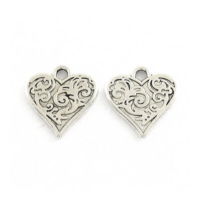 Packet 30 x Antique Silver Tibetan 16mm Heart Charm/Pendant ZX16195
