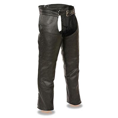 (Mens Classic Black Leather CHAPS Jean Pockets Motorcycle Leg Warmer Biker Pants)