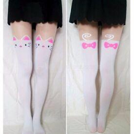 2 new pairs of Cute Women Knee High Silk Cat Tattoo Print Tights